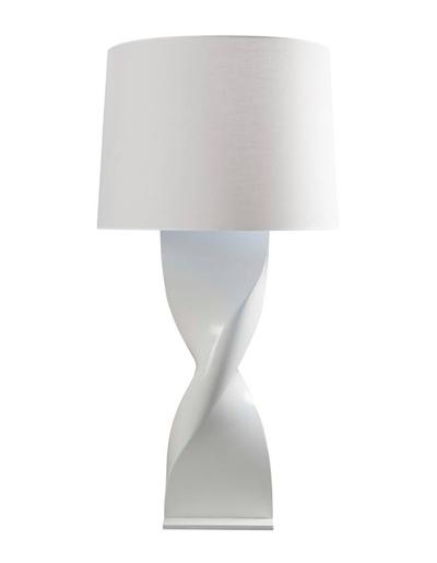 Lampe à poser XL : Fonderie d'aluminium moulé poli ou peint et version résine  abat jour en coton Max 100W socle en altuglas – classe 2. H : 1100 mm.