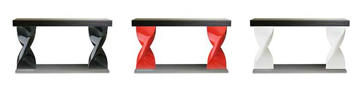 Console 2 motifs Helico : Motifs réalisés en fonderie d'aluminium poli ou peint – version résine moulée – plateau bois plaqué. H:800mm – L : 1400mm – l : 400mm