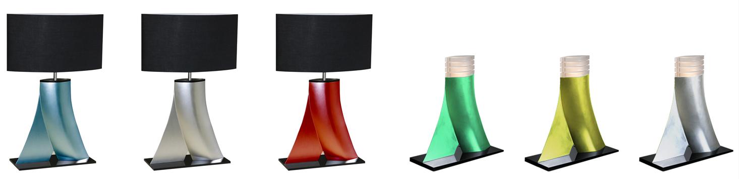 Jog : Fabrication réalisée en résine moulée avec laquage - version lampe Led (fournie) avec diffuseurs en PMMA satin - version abat jour Max 40W.