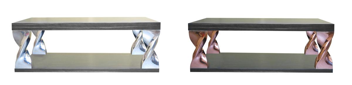 Table basse Helico : Motif réalisé en fonderie d'aluminium poli ou peint et version résine moulée plateau en bois plaqué en ébène reconstitué ou noyer US plaqué ou marbre . diam :700 mm H : 400 mm.