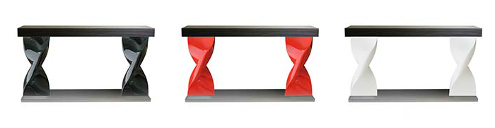Console 2 motifs : Table legs realized in cast aluminium paint or polished – cast resin version – table top in wood veneer. H:800mm – L : 1400mm – l : 400mm