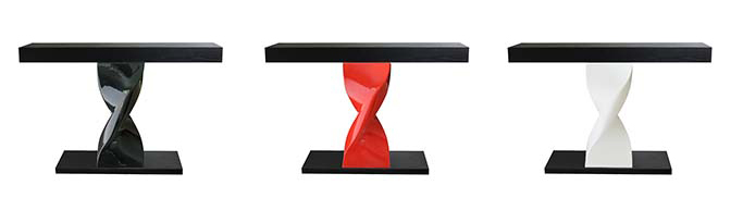 Console 1 Motif : Table leg realized in cast aluminium paint or polished – cast resin version table top in wood veneer. H : 800mm – L : 1100mm – l : 350mm