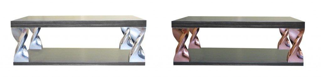 Coffee Table : Manufacturing realized in cast aluminium or cast resin version – table top in wood veneer or marble. diam :700 mm H : 400 mm.
